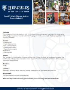 Forklift Driving training course outline