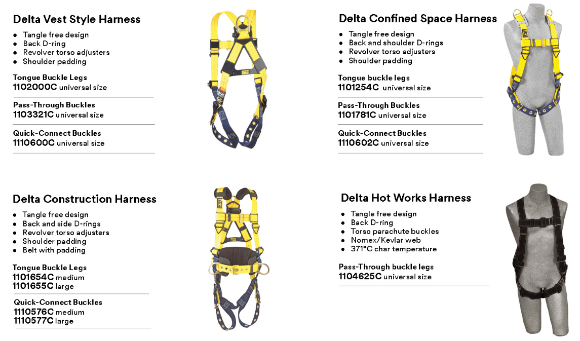3m dbi-sala fall protection harness specs and info