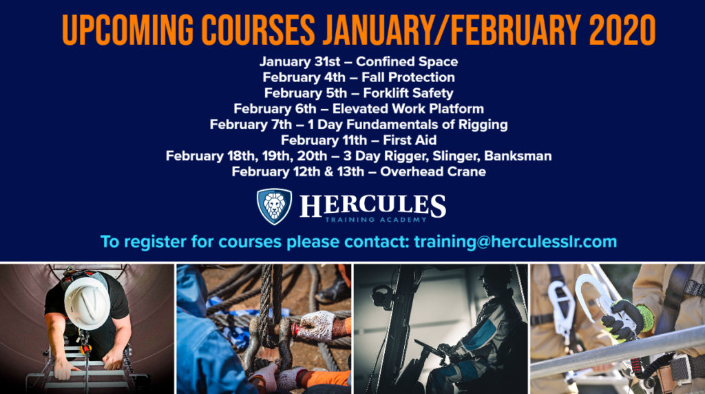 hercules training academy february 2020 industrial training safety courses