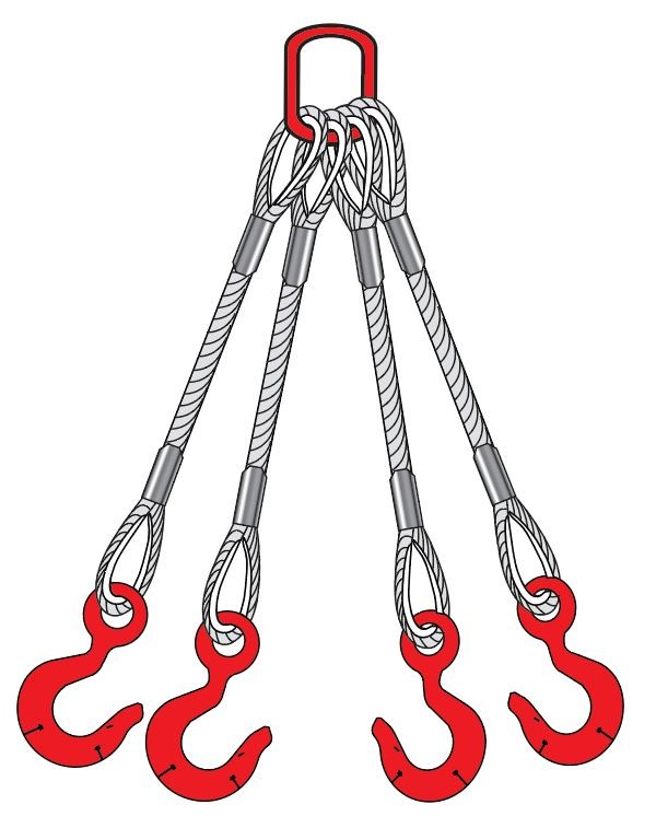 Wire rope four leg sling