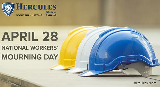 blue, white and yellow hard hats for day of mourning