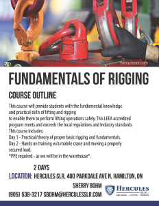 fundamentals of rigging in hamilton, ontario