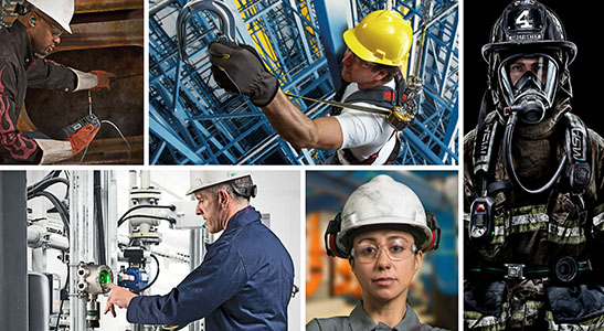 industrial workers wearing msa safety ppe